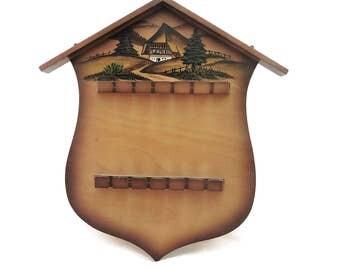 Vintage Wood Spoon Holder Hand Carved Black Forest Bavaria Schwarzwalder