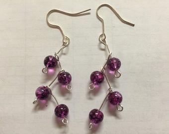 Purple Branch Earrings