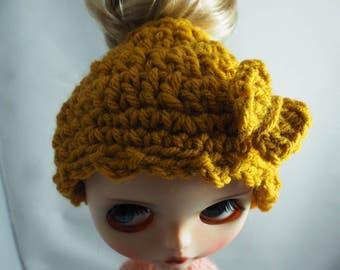 Blythe Messy Bun Crochet Hat (Mustard Yellow)