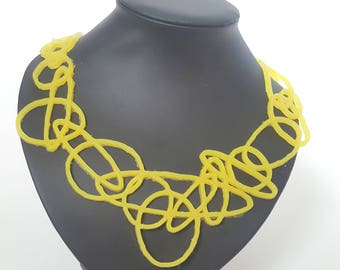 Amber yellow necklace round shapes, silicone jewelry, art jewelry, design necklace, lightweight jewelry, unique necklace, yellow jewelry