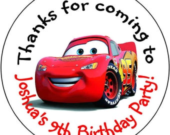 12 the Cars  Birthday Party Stickers 2.5 inch Round Personalized kids Baby Shower