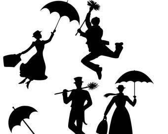 Mary Poppins Bert SVG Mary Poppins Silhouette Clipart Vector Printable DXF