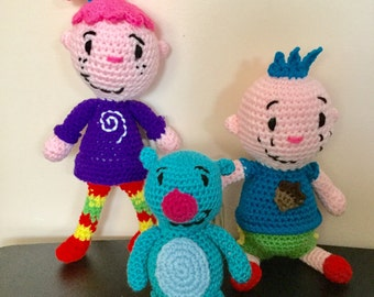 Made to Order: Crochet Amigurumi Sister, Brother, and Pet Guinea Pig Set--FREE shipping