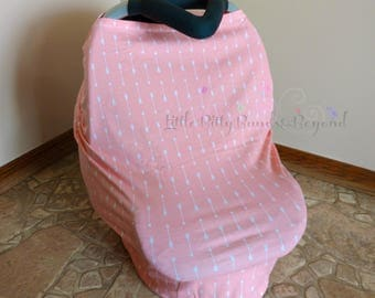 4 in 1 Multi - purpose cover, Pink/Coral arrows car seat cover, nursing cover, shopping cart cover, restaurant high chair cover