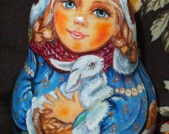 Russian matryoshka doll tumbler babushka Beauty girl winter rabbit handmade exclusive
