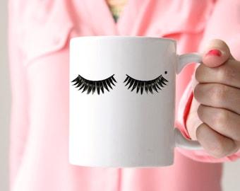 Funny Coffee Mug, Gift for Her, Eyelashes Coffee Mug, Make Up Artist, Wife Gift, Best Friend Gift, Cosmetologist Gift, Hairdresser Gift