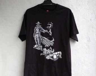 Vtg Cowboy Zombie Black Shirt Size M