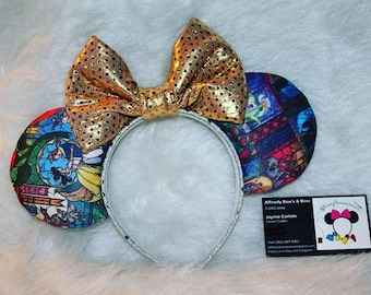 Stain glass beauty and the beast mouse ears