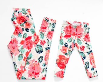 Mother's Day gift - matching outfits - mommy and me leggings - mom and me outfits - mom and daughter matching outfits - flower leggings