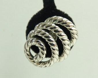 70s trifari earrings, silver metal lasso earrings, 1970s spiral loop designer clip on minimalist statement vintage earrings, costume jewelry