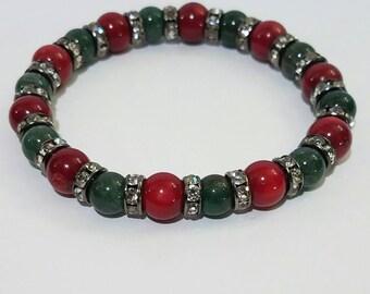 Jade and Red Coral Sparkle Bracelet