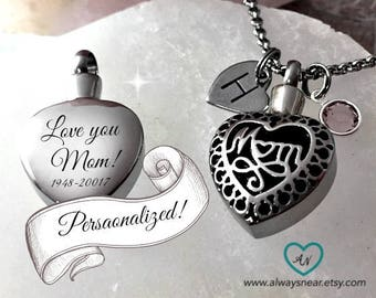 Cremation mom heart necklace, Cremation pendant, Cremation necklace,Cremation jewelry, Memorial Urn, Mom urn, Keepsake necklace, Mom heart