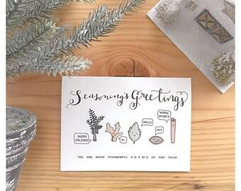 SEASONS GREETINGS // christmas card, holiday card, funny christmas card, funny holiday card, holiday pun, christmas pun, spices, punny, pun