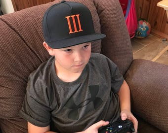 Boys Call of Duty Black Ops III Custom Embroidered Flatbill Trucker Hat-Youth trucker hat-Video game hats-gamer-snap back