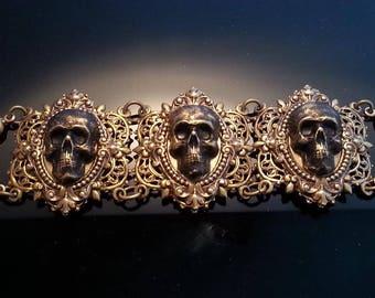 Brass Skull Bracelet | Gold Skull Bracelet | Skull Jewelry | Gothic Bracelet | Vintage Style Skull | Dawn Santucci | Popskullpture