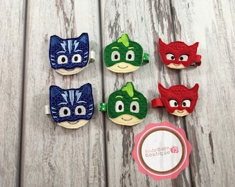 Bedtime hero's Hair clips, PJ Mask Clips, hair Clips, Hair accessories