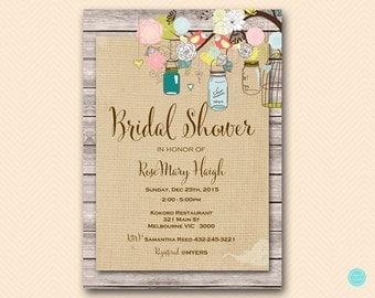 Burlap Mason Bridal Shower Invitation, Burlap Baby Shower Invitation, Bridal Shower Invitation, Baby Shower Invitation BS498 TLC498