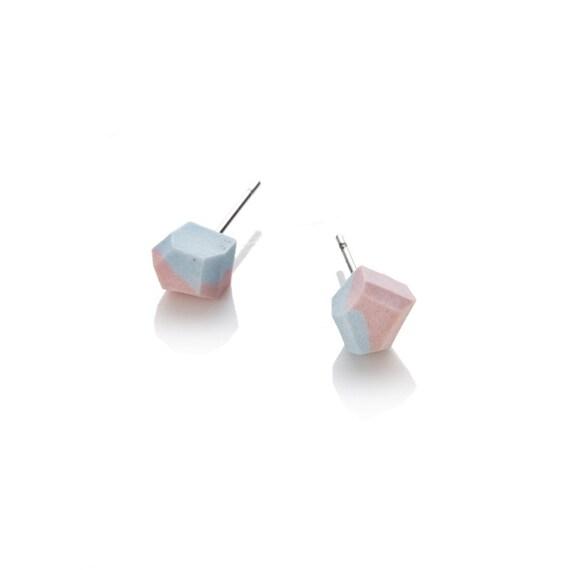 Studs pastel geometric Porcelain Handmade blue/pink