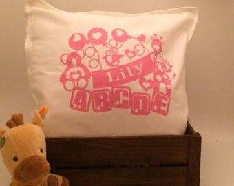 Personalised ABC Animals paper cut design baby's name cushion