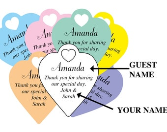 "Personalised heart ""Thank you for sharing our first meal"" tags"" with guests names and your details, any colour wording can be done"