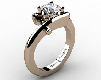 Modern French 14K Rose Gold 1.0 Ct White Sapphire Diamond Ring R1100-14KRGDWS