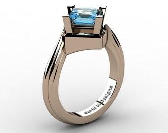 Modern French 14K Rose Gold 2.0 Ct Princess Blue Topaz Engagement Ring R1101-14KRGBT