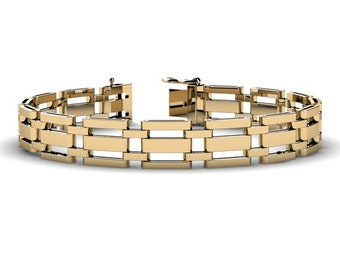 Mens Modern 14K Yellow Gold Tank Bracelet B1002-14KYG
