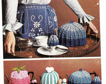 PDF Knitting Pattern- Vintage tea and egg cosy pattern