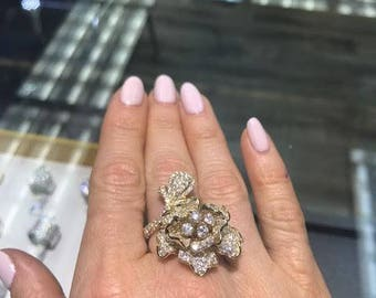 5.04CT 14K Yellow Gold Diamond Flower Ring, Unique One Of A Kind Jewelry
