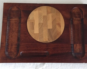 Vintage Baribocraft Teak & Maple Cheese Charcuterie Board. Made In Canada.