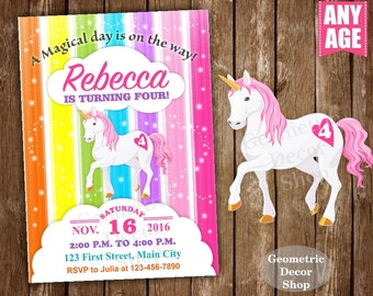 Unicorn Birthday Invitation Purple Invitations Girl Invite Pink Invites Magical Day Rainbow Birthday Blue Aqua Photo Photograph BDU9