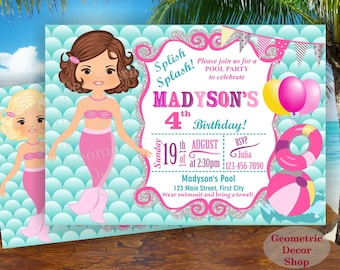 Mermaid POOL PARTY Invitation, Pool Party, Pool Bash, Birthday Invitation, Birthday Invite Girl Swimming Pink Purple Aqua Teal #BDMER5