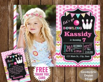 Bowling Party Birthday Invitations Girl Invites Aqua Pink Gold Teal Glitter Printable Digital Free Thank you card Photo Photograph BDBW12