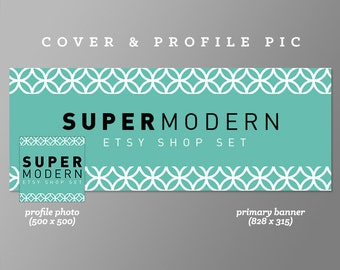 Timeline Cover + Profile Picture | Super Modern | Cover, Profile Picture, Branding, Web Banner, Blog Header | teal, cover image, green, blue