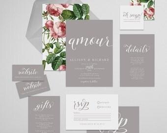 Amour Printable Wedding Invitation Suite . Wedding Invitation, Printable Invite, DIY Wedding Invitation, warm grey, gray, floral elements