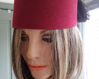 Vintage Turkish Felt Fez / Hat With Black Tassel, Festival,Haloveen, Costume,Dress-up