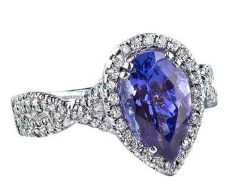 Tanzanite Engagement Ring, 2.78 TCW, Tanzanite Diamond Ring, Pear Shaped Tanzanite Ring, Blue Gemstone Ring, Halo Bridal Ring, Anniversary