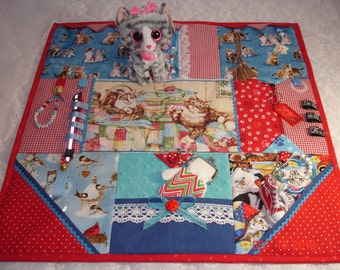 To Be Made CAT Fidget Activity Tactile Sensory Quilt Wheelchair Blanket for Alzheimer's, stroke, autistic, dementia, anxiety, brain trauma