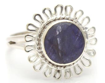 Created Sapphire Ring, 925 Sterling Silver, Unique only 1 piece available! SIZE 5 (inner diameter 15.67mm), color navy blue, weight 2.3g,