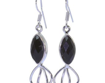 Black Onyx Earrings, 925 Sterling Silver, Unique only 1 piece available! color black, weight 4.9g, #32343