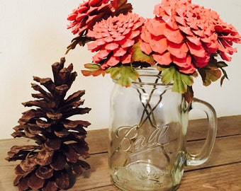 Shabby Chic Flowers, Faux Flower Bouquet, Fake Pinecone Flowers, Artificial Flower, Zinnia Stemmed Flower, Painted Pinecones,  Fake Flowers