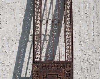 Antique Iron Garden Gate Greek Key Door Architectural Salvage Door 27x1x83 #08