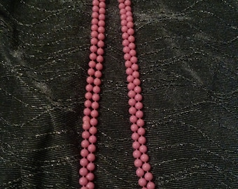Clearance was 13 now 10. 60s/70s Pink Bead Necklace/Costume Jewelry