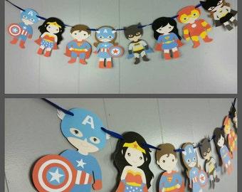 Boy and Girl Superheros Banner, Superhero Garland, First Birthday Banner