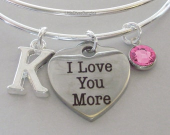 I Love You More  BANGLE - VALENTINE Day  Adjustable Bangle W/ Swarovski Birthstone Drop / Initial - Gift For Her Under 20 USA V1