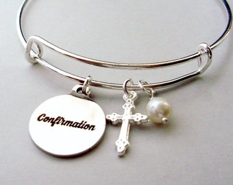 CONFIRMATION Bangle  W/ Silver CROSS / Pearl Drop - Bangle Charm  Bracelet - Gift For Her  Religion FC1