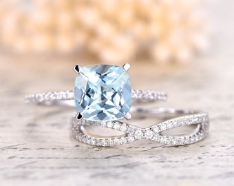 8mm Cushion Cut Aquamarine Ring Set,Aquamarine Engagement Ring,14k Rose Gold,Ball Set,Diamond Pave Band,Split Shank Band,Deco Diamond Ring