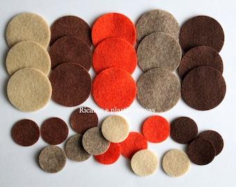 Felt Circles, 30 Die Cut Felt Circles, Die Cut Shapes, Felt, Multi Coloured Circles, Die Cut Craft Embellishment, Felt Supplies