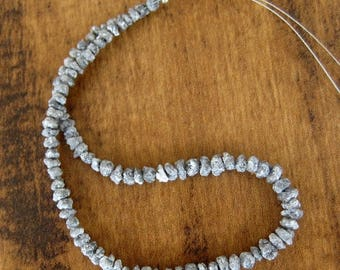 ON SALE 50% Natural Diamonds, Raw Diamond Beads, Drilled Beads, Uncut Beads, Grey Rough Diamond, 4mm To 3mm Beads, 8 Inches Half Strand