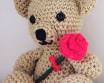 Sale - Reduced in Price. Hand Crocheted Teddy Bear holding a Red Rose. Show Someone you Care!  UK seller!